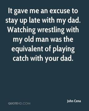It gave me an excuse to stay up late with my dad. Watching wrestling with my old man was the equivalent of playing catch with your dad.