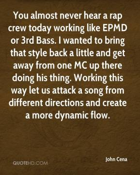 You almost never hear a rap crew today working like EPMD or 3rd Bass. I wanted to bring that style back a little and get away from one MC up there doing his thing. Working this way let us attack a song from different directions and create a more dynamic flow.