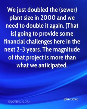 John Dowd  - We just doubled the (sewer) plant size in 2000 and we need to double it again. (That is) going to provide some financial challenges here in the next 2-3 years. The magnitude of that project is more than what we anticipated.