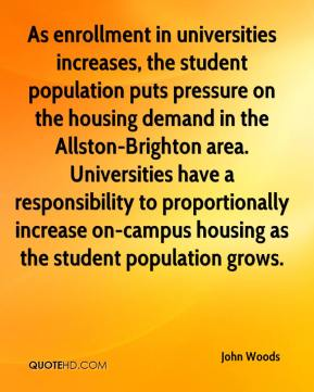 As enrollment in universities increases, the student population puts pressure on the housing demand in the Allston-Brighton area. Universities have a responsibility to proportionally increase on-campus housing as the student population grows.