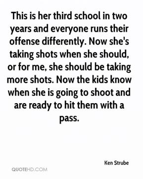 Ken Strube  - This is her third school in two years and everyone runs their offense differently. Now she's taking shots when she should, or for me, she should be taking more shots. Now the kids know when she is going to shoot and are ready to hit them with a pass.