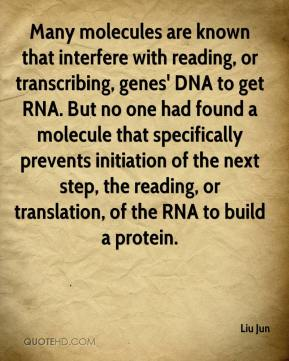 Liu Jun  - Many molecules are known that interfere with reading, or transcribing, genes' DNA to get RNA. But no one had found a molecule that specifically prevents initiation of the next step, the reading, or translation, of the RNA to build a protein.