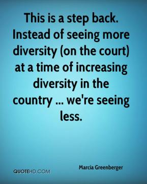 Marcia Greenberger  - This is a step back. Instead of seeing more diversity (on the court) at a time of increasing diversity in the country ... we're seeing less.