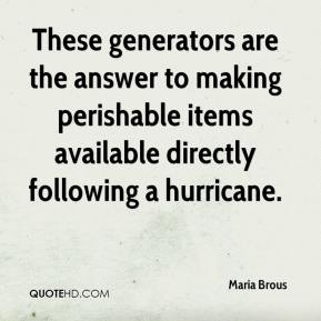 Maria Brous  - These generators are the answer to making perishable items available directly following a hurricane.