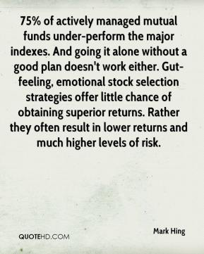 75% of actively managed mutual funds under-perform the major indexes. And going it alone without a good plan doesn't work either. Gut-feeling, emotional stock selection strategies offer little chance of obtaining superior returns. Rather they often result in lower returns and much higher levels of risk.