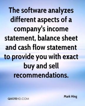 Mark Hing  - The software analyzes different aspects of a company's income statement, balance sheet and cash flow statement to provide you with exact buy and sell recommendations.