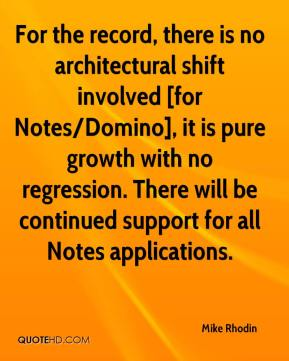 For the record, there is no architectural shift involved [for Notes/Domino], it is pure growth with no regression. There will be continued support for all Notes applications.