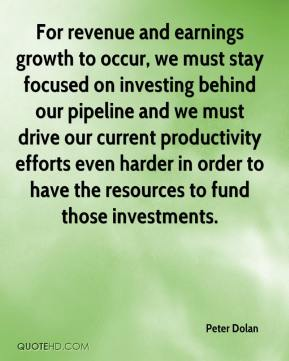 Peter Dolan  - For revenue and earnings growth to occur, we must stay focused on investing behind our pipeline and we must drive our current productivity efforts even harder in order to have the resources to fund those investments.