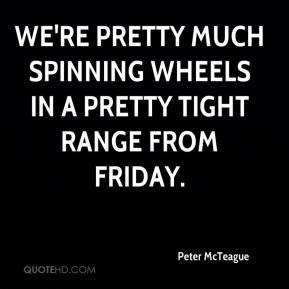 Peter McTeague  - We're pretty much spinning wheels in a pretty tight range from Friday.