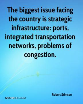 Robert Stimson  - The biggest issue facing the country is strategic infrastructure: ports, integrated transportation networks, problems of congestion.