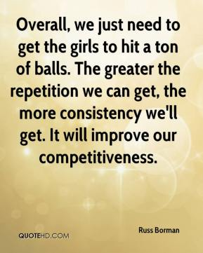 Russ Borman  - Overall, we just need to get the girls to hit a ton of balls. The greater the repetition we can get, the more consistency we'll get. It will improve our competitiveness.