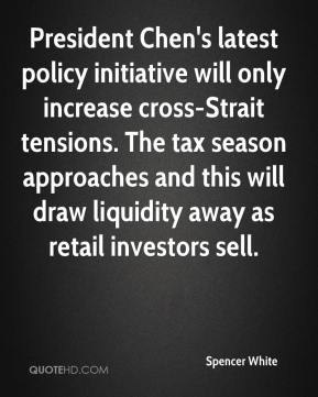 Spencer White  - President Chen's latest policy initiative will only increase cross-Strait tensions. The tax season approaches and this will draw liquidity away as retail investors sell.