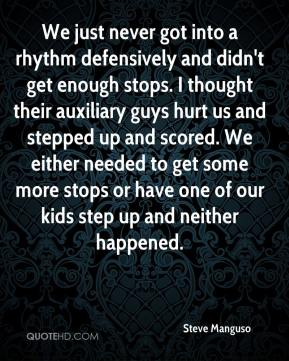 We just never got into a rhythm defensively and didn't get enough stops. I thought their auxiliary guys hurt us and stepped up and scored. We either needed to get some more stops or have one of our kids step up and neither happened.