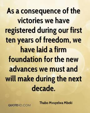 As a consequence of the victories we have registered during our first ten years of freedom, we have laid a firm foundation for the new advances we must and will make during the next decade.