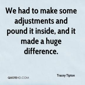 Tracey Tipton  - We had to make some adjustments and pound it inside, and it made a huge difference.