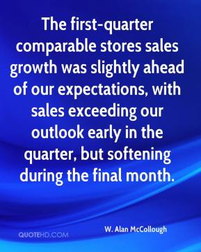 The first-quarter comparable stores sales growth was slightly ahead of our expectations, with sales exceeding our outlook early in the quarter, but softening during the final month.