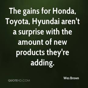 The gains for Honda, Toyota, Hyundai aren't a surprise with the amount of new products they're adding.
