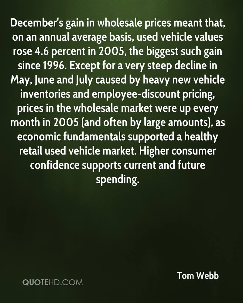 December's gain in wholesale prices meant that, on an annual average basis, used vehicle values rose 4.6 percent in 2005, the biggest such gain since 1996. Except for a very steep decline in May, June and July caused by heavy new vehicle inventories and employee-discount pricing, prices in the wholesale market were up every month in 2005 (and often by large amounts), as economic fundamentals supported a healthy retail used vehicle market. Higher consumer confidence supports current and future spending.