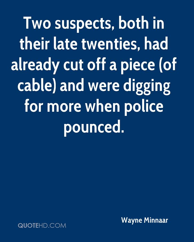 Two suspects, both in their late twenties, had already cut off a piece (of cable) and were digging for more when police pounced.