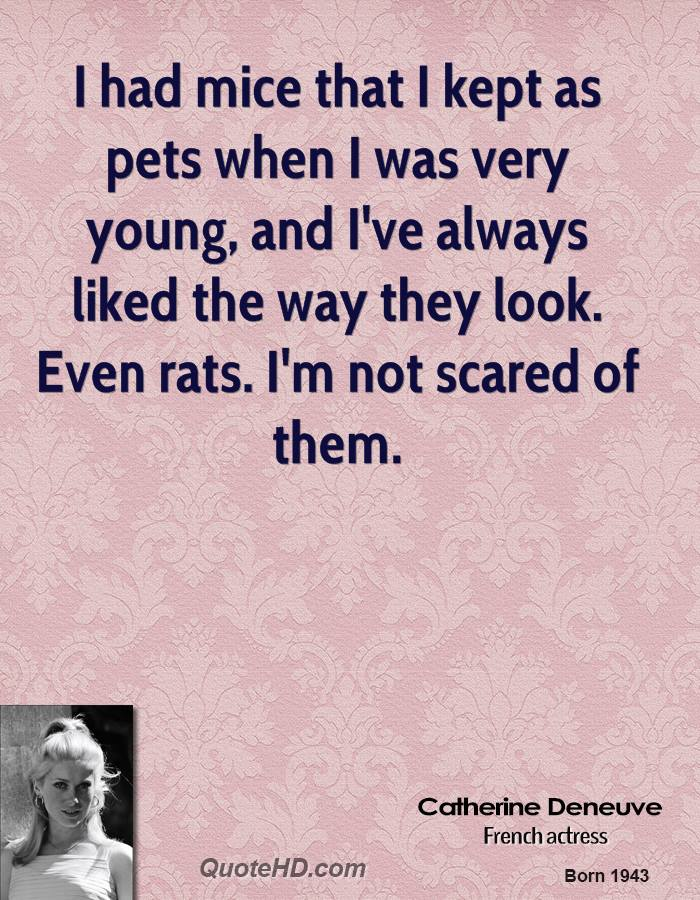 I had mice that I kept as pets when I was very young, and I've always liked the way they look. Even rats. I'm not scared of them.