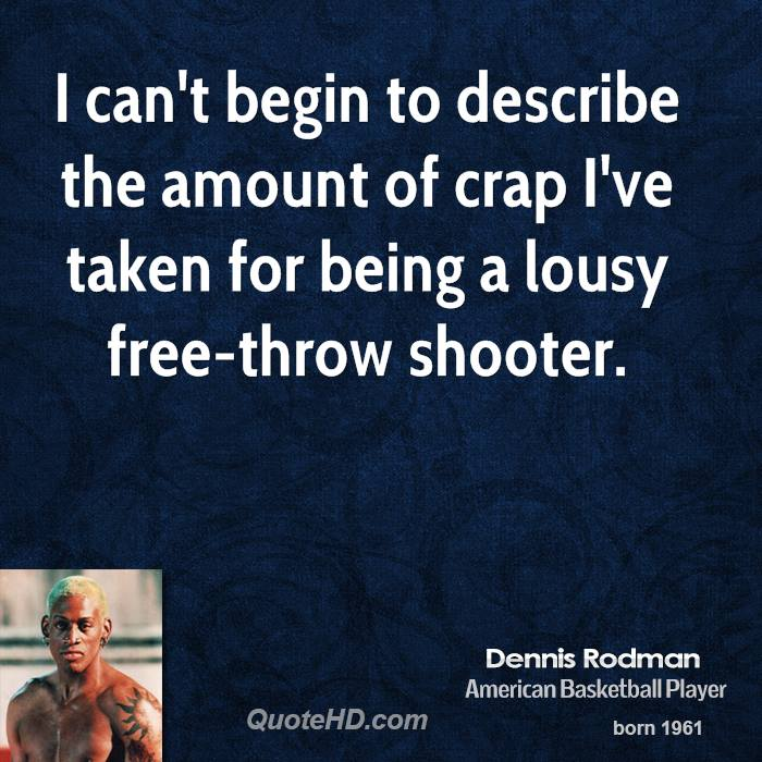 I can't begin to describe the amount of crap I've taken for being a lousy free-throw shooter.