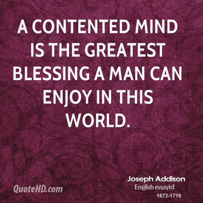 a contented mind is a perpetual feast meaning in hindi