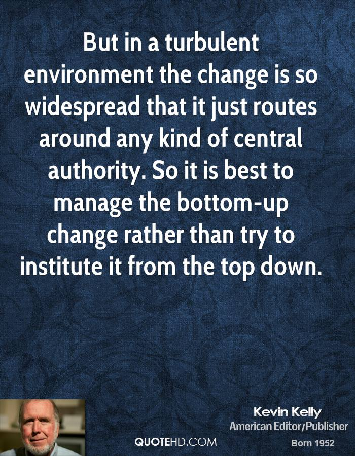 But in a turbulent environment the change is so widespread that it just routes around any kind of central authority. So it is best to manage the bottom-up change rather than try to institute it from the top down.