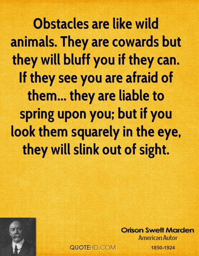 Obstacles are like wild animals. They are cowards but they will bluff you if they can. If they see you are afraid of them... they are liable to spring upon you; but if you look them squarely in the eye, they will slink out of sight.