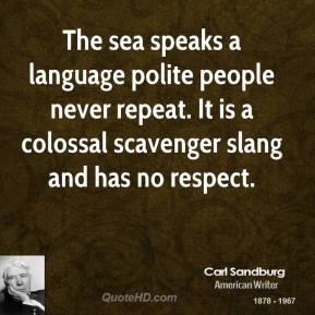 Carl Sandburg - The sea speaks a language polite people never repeat. It is a colossal scavenger slang and has no respect.