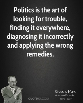 Groucho Marx - Politics is the art of looking for trouble, finding it everywhere, diagnosing it incorrectly and applying the wrong remedies.