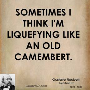 Sometimes I think I'm liquefying like an old Camembert.