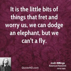 Josh Billings  - It is the little bits of things that fret and worry us, we can dodge an elephant, but we can't a fly.