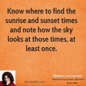 Marilyn vos Savant - Know where to find the sunrise and sunset times and note how the sky looks at those times, at least once.