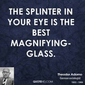 Theodor Adorno - The splinter in your eye is the best magnifying-glass.