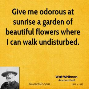 Walt Whitman - Give me odorous at sunrise a garden of beautiful flowers where I can walk undisturbed.