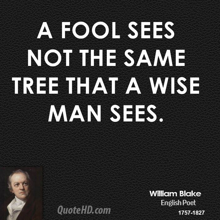 A fool sees not the same tree that a wise man sees.