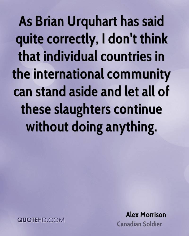 As Brian Urquhart has said quite correctly, I don't think that individual countries in the international community can stand aside and let all of these slaughters continue without doing anything.
