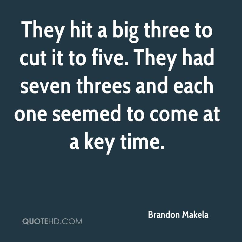 They hit a big three to cut it to five. They had seven threes and each one seemed to come at a key time.
