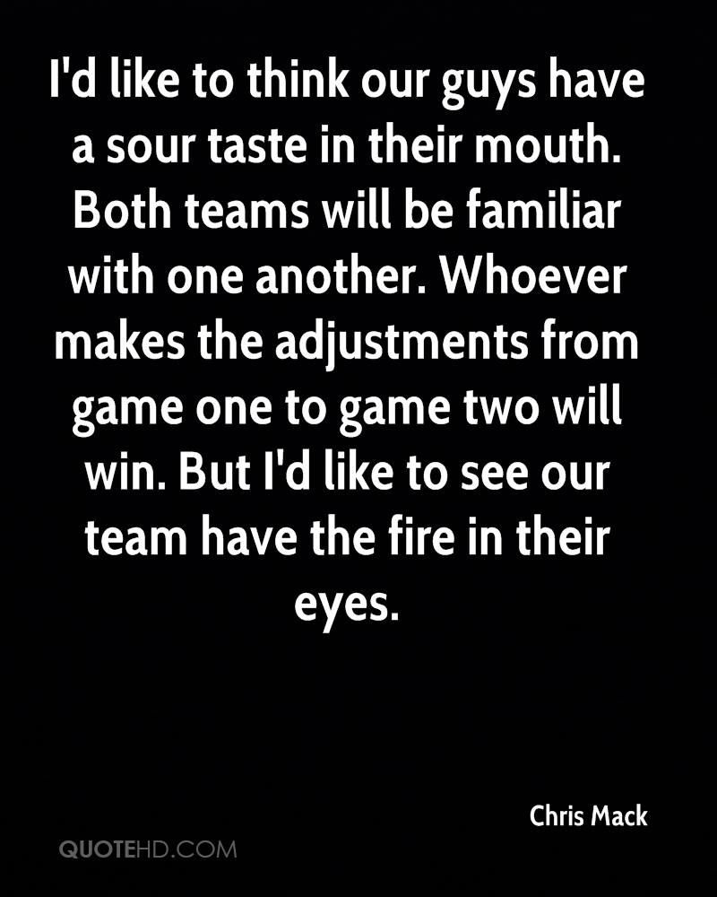I'd like to think our guys have a sour taste in their mouth. Both teams will be familiar with one another. Whoever makes the adjustments from game one to game two will win. But I'd like to see our team have the fire in their eyes.