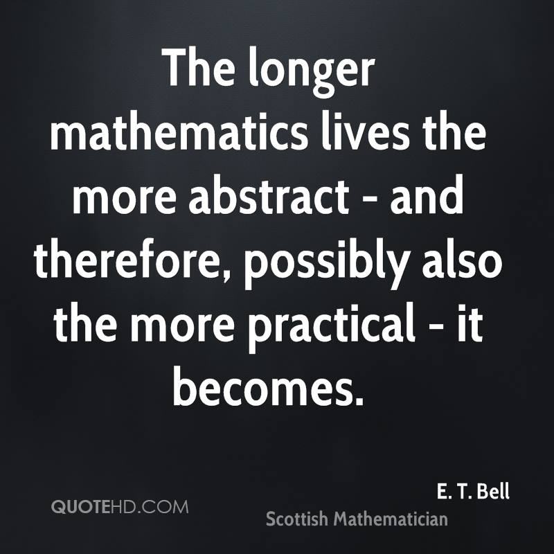 The longer mathematics lives the more abstract - and therefore, possibly also the more practical - it becomes.
