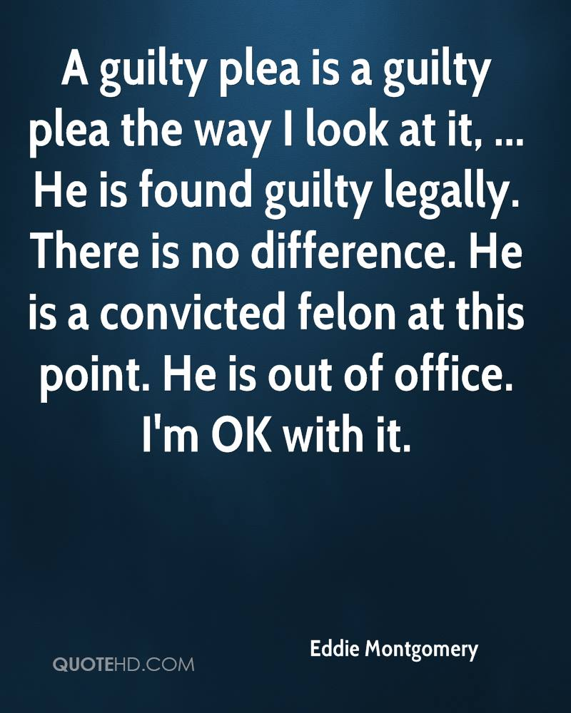 A guilty plea is a guilty plea the way I look at it, ... He is found guilty legally. There is no difference. He is a convicted felon at this point. He is out of office. I'm OK with it.