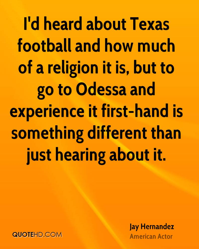 I'd heard about Texas football and how much of a religion it is, but to go to Odessa and experience it first-hand is something different than just hearing about it.