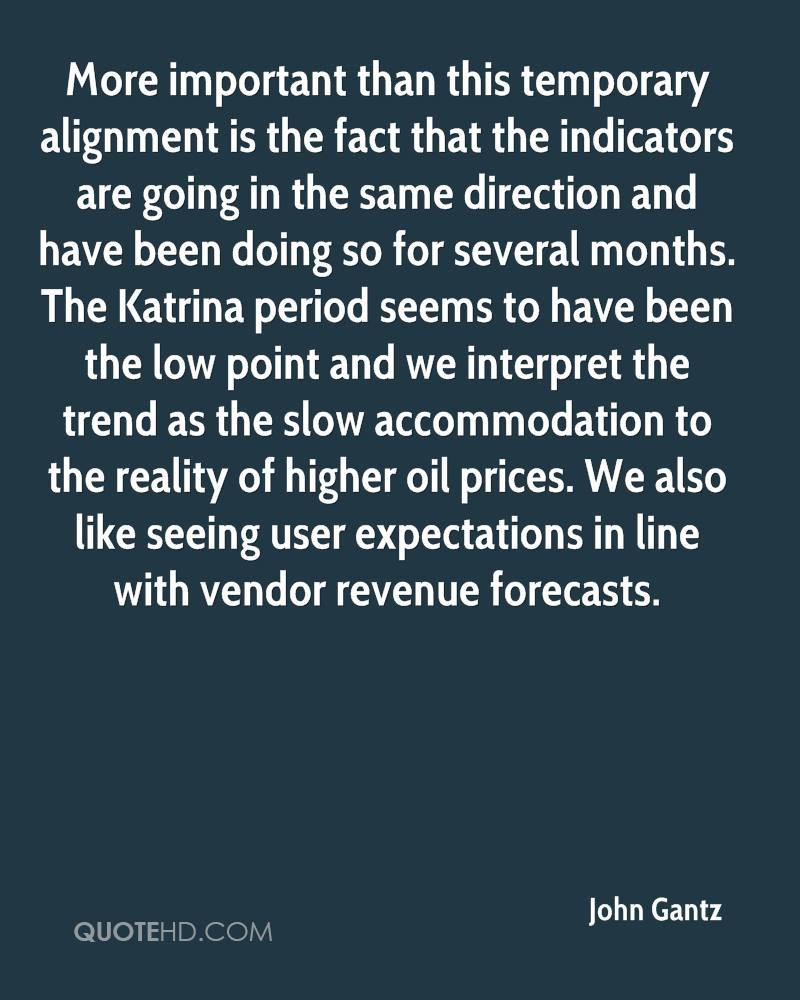 More important than this temporary alignment is the fact that the indicators are going in the same direction and have been doing so for several months. The Katrina period seems to have been the low point and we interpret the trend as the slow accommodation to the reality of higher oil prices. We also like seeing user expectations in line with vendor revenue forecasts.