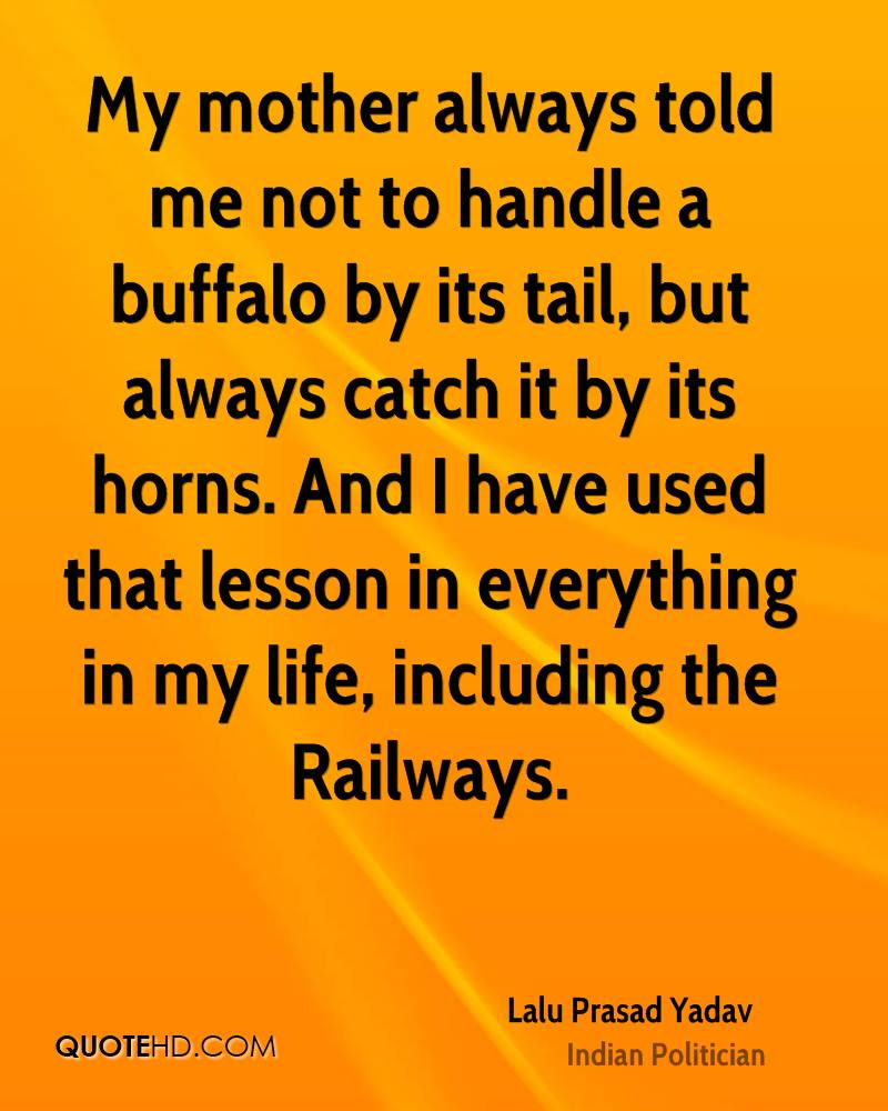 My mother always told me not to handle a buffalo by its tail, but always catch it by its horns. And I have used that lesson in everything in my life, including the Railways.