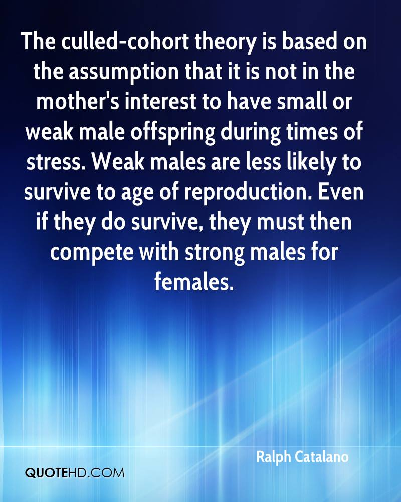 The culled-cohort theory is based on the assumption that it is not in the mother's interest to have small or weak male offspring during times of stress. Weak males are less likely to survive to age of reproduction. Even if they do survive, they must then compete with strong males for females.