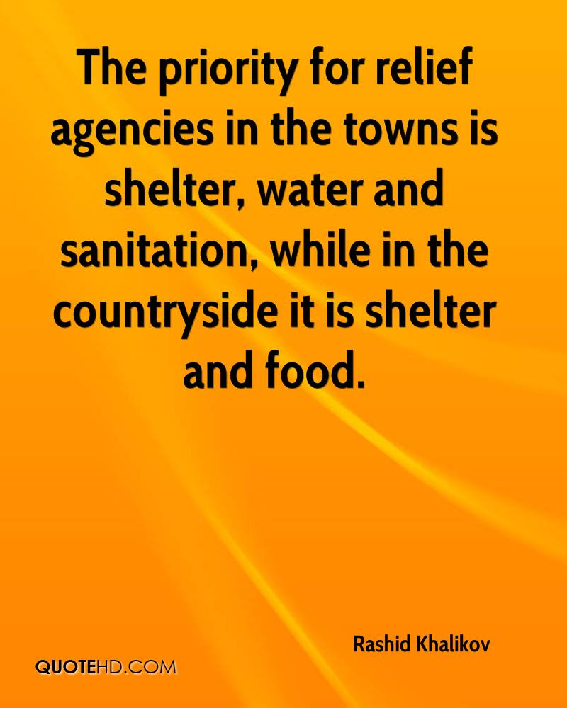 The priority for relief agencies in the towns is shelter, water and sanitation, while in the countryside it is shelter and food.