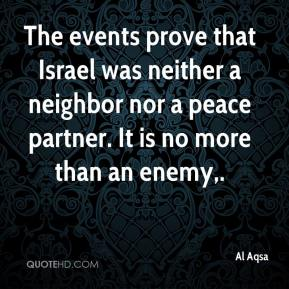 Al Aqsa - The events prove that Israel was neither a neighbor nor a peace partner. It is no more than an enemy.