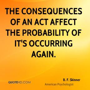 The consequences of an act affect the probability of it's occurring again.