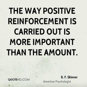 The way positive reinforcement is carried out is more important than the amount.