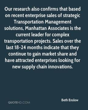 Our research also confirms that based on recent enterprise sales of strategic Transportation Management solutions, Manhattan Associates is the current leader for complex transportation projects. Sales over the last 18-24 months indicate that they continue to gain market share and have attracted enterprises looking for new supply chain innovations.